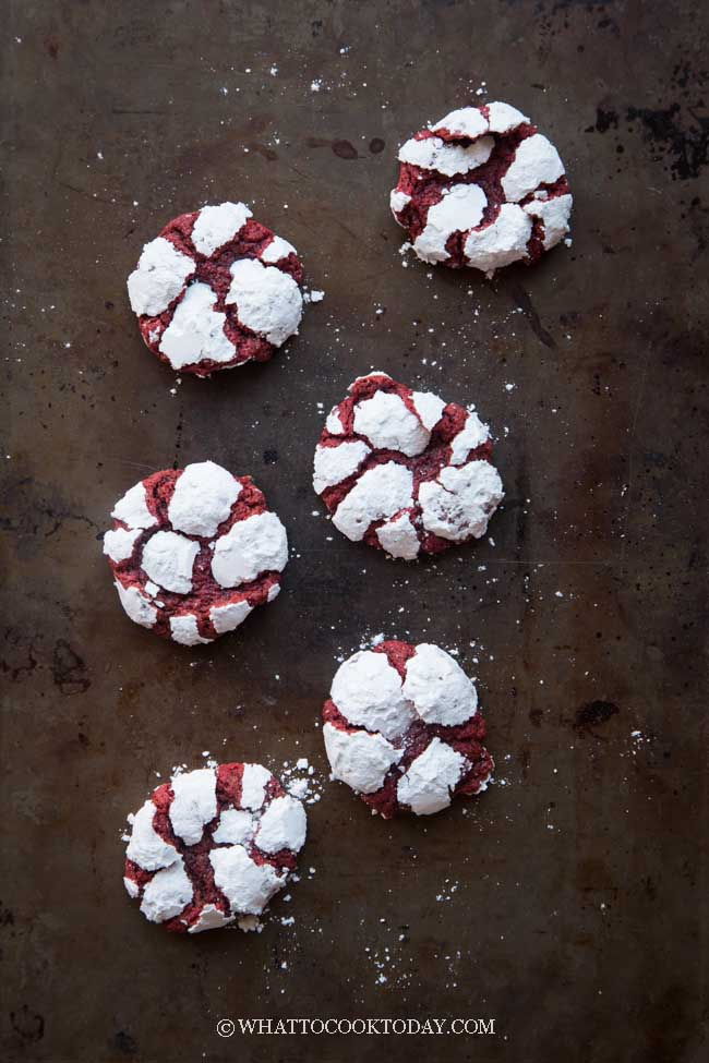 Red Velvet Cream Cheese Crinkle Cookies (from scratch)