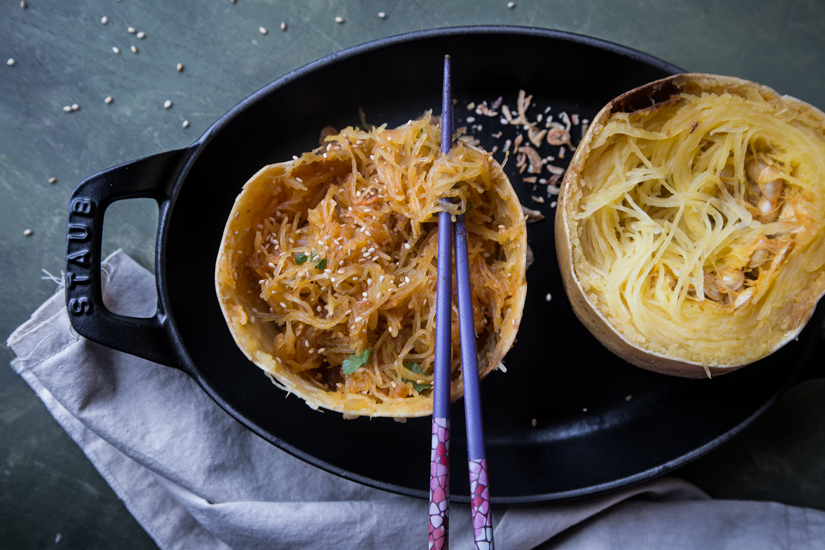 Easy Spaghetti Squash Bowl in Spicy Asian Sauce