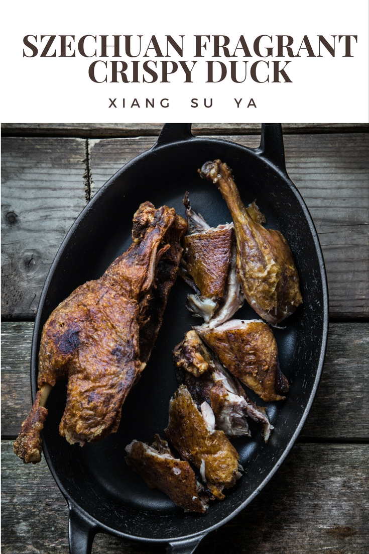Xiang Su Ya is a Szechuan dish where the whole duck is marinated in seasonings and then air-dried for days and then deep-fried or air-fried