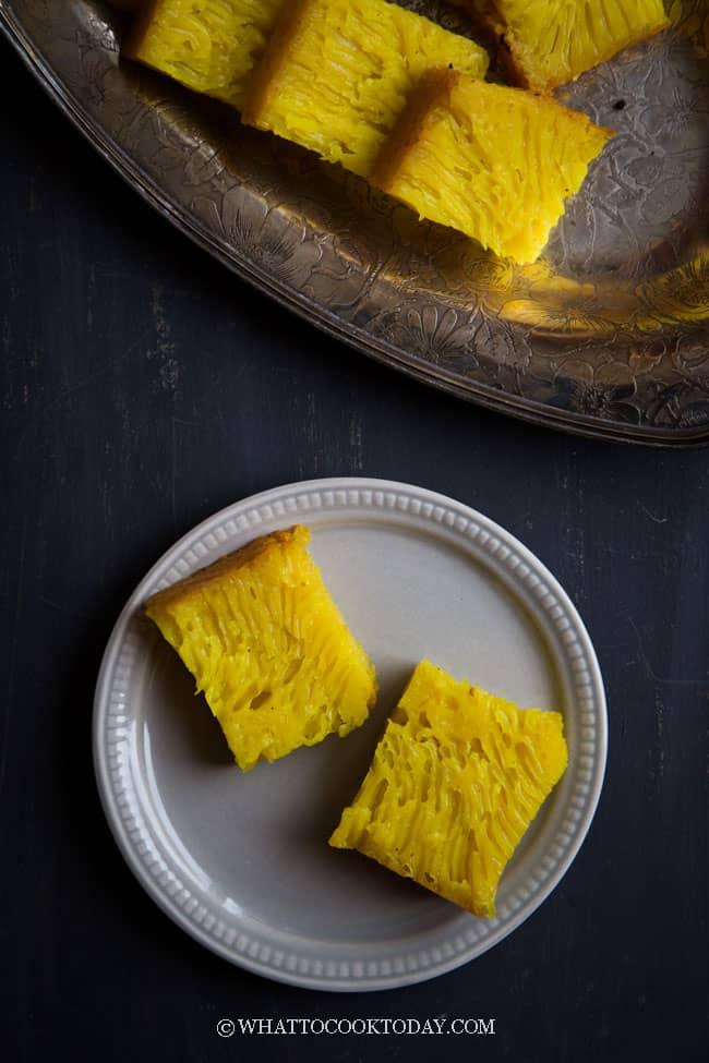 Bika Ambon Panggang / Kuih Bingka (with honeycomb texture)