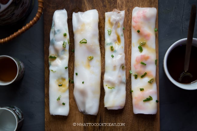 Homemade Cheung Fun (Steamed Rice Noodle Rolls)- 5 Ways