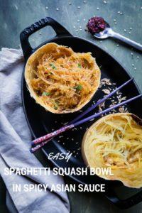 Easy Spaghetti Squash Bowl in Spicy Asian Sauce
