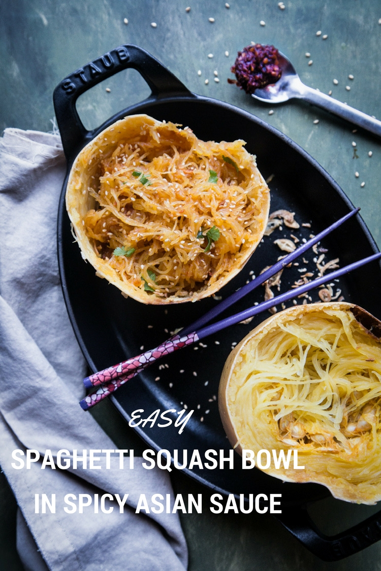 Spaghetti Squash is tossed in Spicy Asian Sauce made of Sambal Oelek and other seasonings and served in the squash bowl makes eating just so much more fun