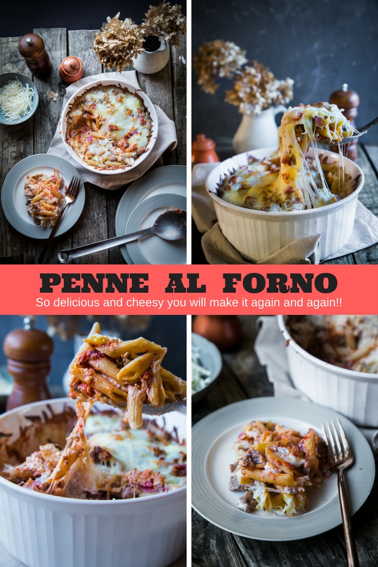 This Penne Al Forno is delicious,cheesy and filled with sauteed Italian Sausage, Prosciutto, Pepperoni, Ricotta, Parmesan, and Mozarella