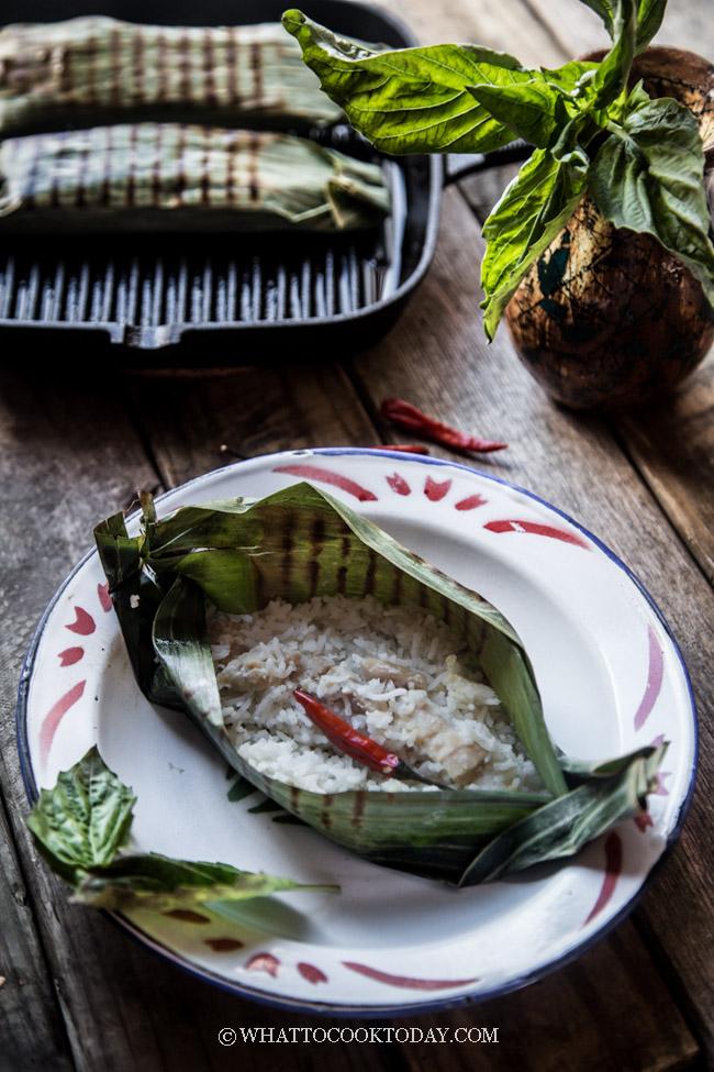 Nasi bakar ayam kemangi (Grilled rice with chicken and basil)