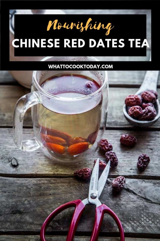 Chinese red dates tea is made with dried red dates and can be made on the stove or instant pot pressure cooker. This easy simple tea recipe is nourishing to the body.