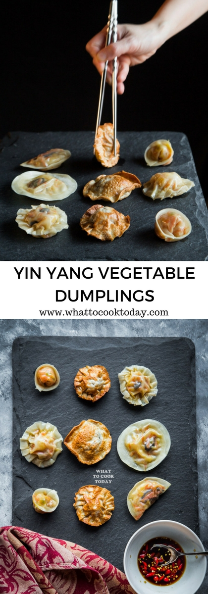 Yin Yang Vegetable dumplings-Colorful vegetables and shreds of omelets are stuffed inside these dumplings served with soy-vinegar dipping sauce. Yin dumplings are steamed and the Yan dumplings are shallow-fried. These are seriously so good!