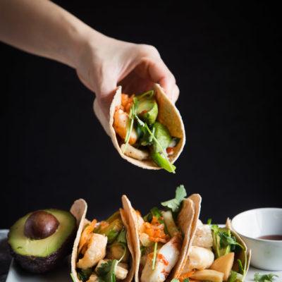 Easy Sesame Fish Kimchi Taco