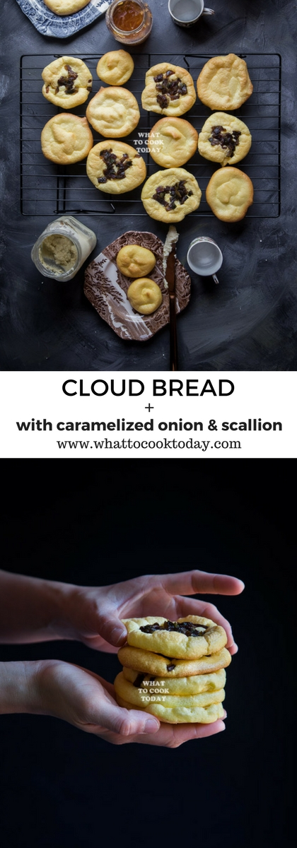 How to make Cloud Bread. Delicious easy gluten free flourless cloud bread topped with caramelized onion and scallion recipe. Click through for full recipe and step by step instructions