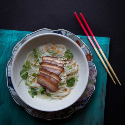 Somen Noodle Soup with Pan-fried Pork Belly