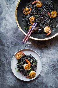 Homemade Squid Ink Ramen and Buttered Ramen with Shrimp Stir-fry