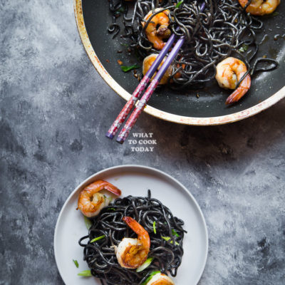 Homemade Squid Ink Ramen and Buttered Ramen with Shrimp Stir-fry