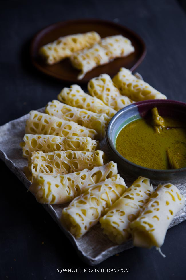 How To Make Malaysian Roti Jala (Net Crepes) - without special dispenser