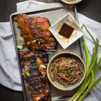 One-hour Miso Honey Pork Ribs and Soba Noodle Salad