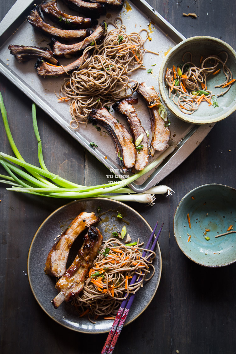 One-hour Miso Honey Pork Ribs with Soba Noodle Salad #AllNaturalPork #ad