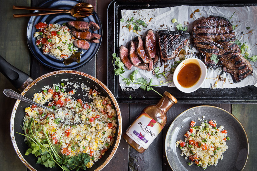 Kung Pao Steak and Cauliflower Fried Rice #GrillingMadeSimple #ad
