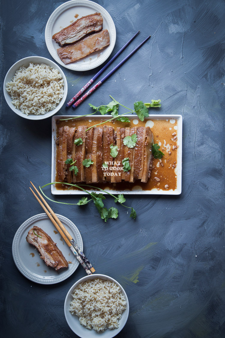 Hakka Kau Yuk (Pork Belly and Taro). Alternating layers of pork belly and taro slices are fried and steamed in umami sauce is a Hakka delicacy treasured by many in Asia