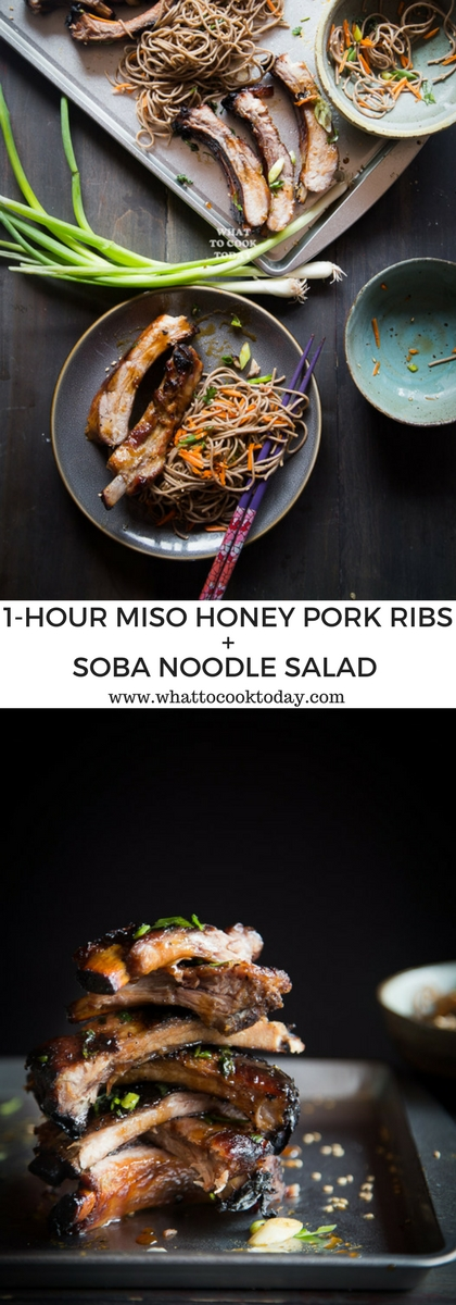 How to make tender One-hour Miso Honey Pork Ribs with Soba Noodle Salad. Click through for full recipe and step by step instructions #AllNaturalPork #ad