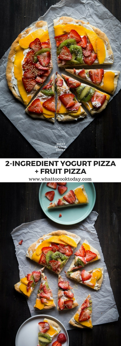 2-ingredient yogurt pizza dough and fruit pizza. 2 Ingredients are all you need to make soft pizza dough that is really no fuss at all. Ready for you to top with any toppings you like! I find it hard to believe, but it's true #HorizonLunch #ad