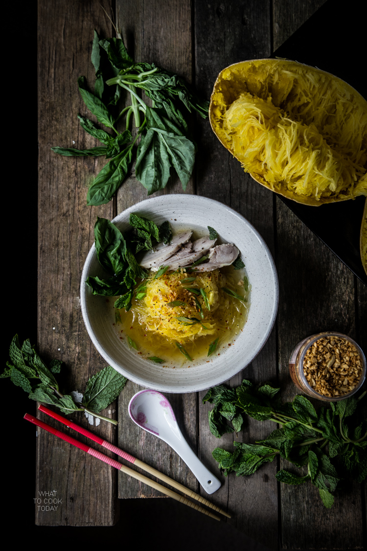 Spaghetti Squash Chicken Ginger Noodle Soup. Roasted spaghetti squash served with aromatic ginger broth, crispy garlic, tender slices of chicken, and fresh herbs will be one of your favorite comfort food