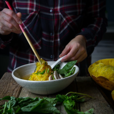 Spaghetti Squash Chicken Ginger Noodle Soup