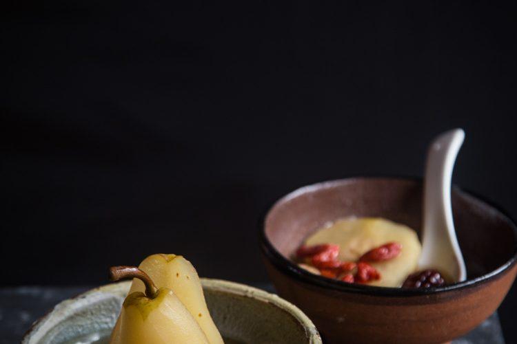 Longan, Red Dates, Goji Berries Poached Pears