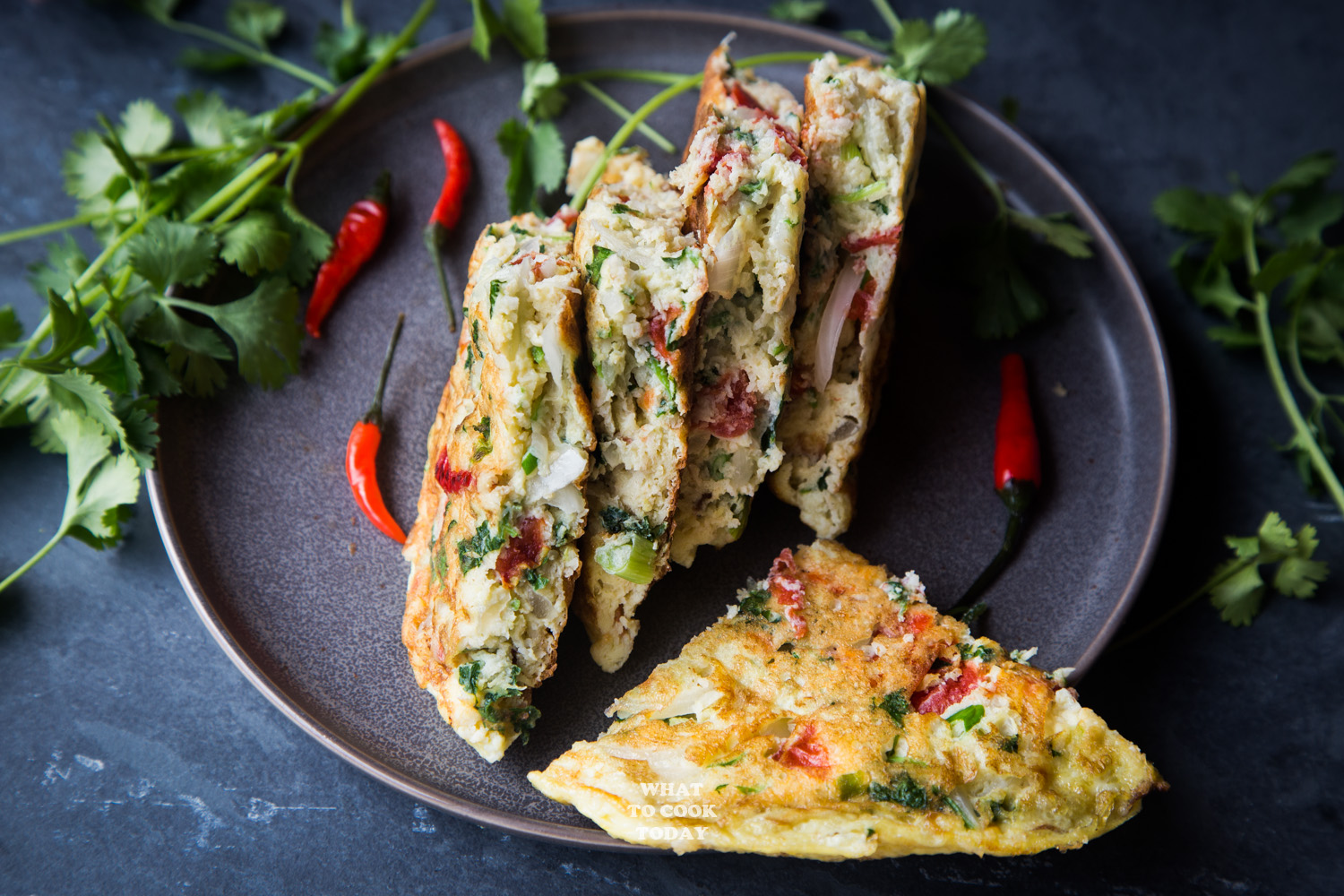 Dadar telur Padang (Indonesian thick omelette) in horizontal orientation