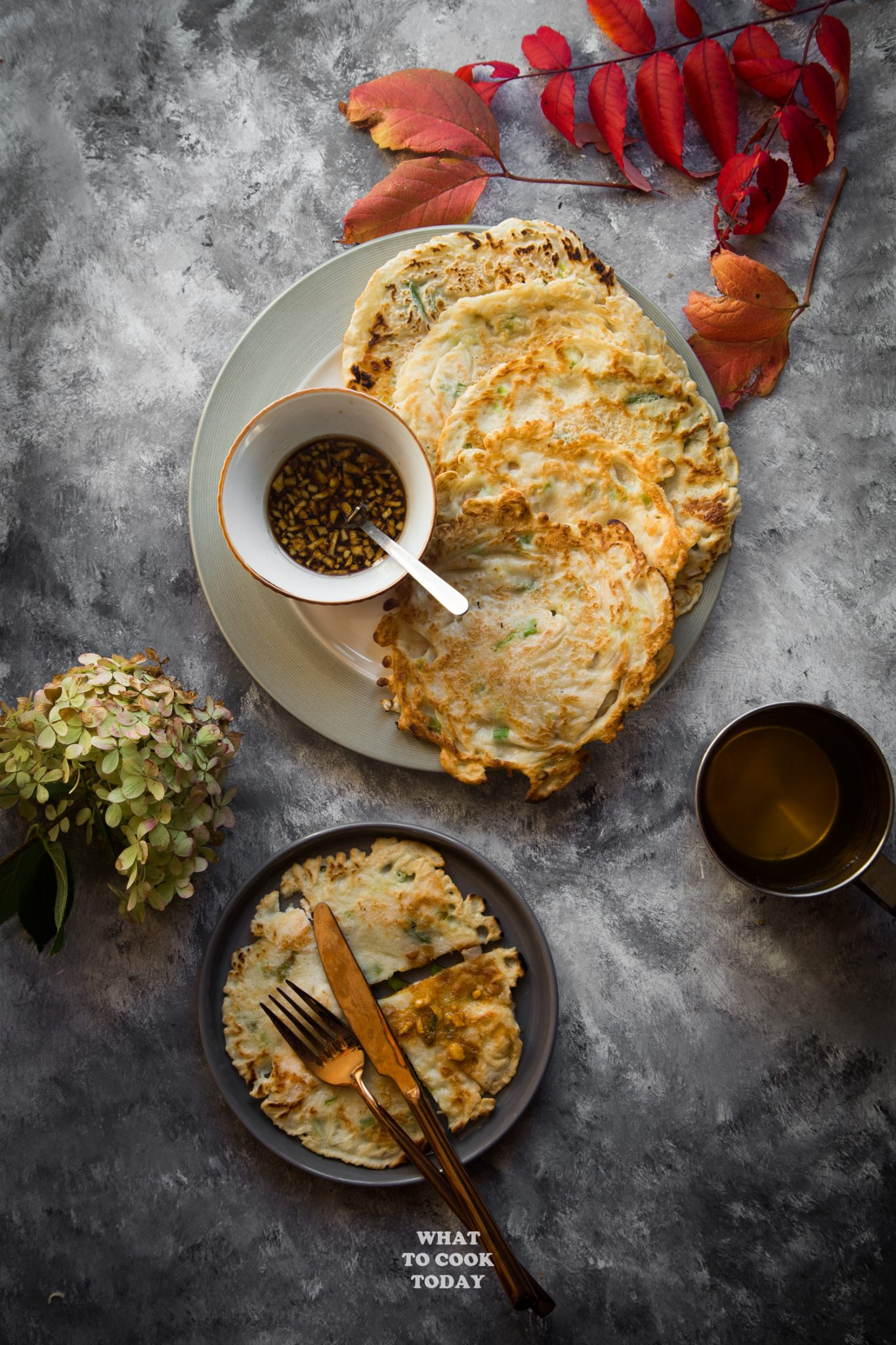 Leftover Turkey Scallion Pancakes and Soy Ginger Sauce #pancakes #leftoverturkey #recipes #asian