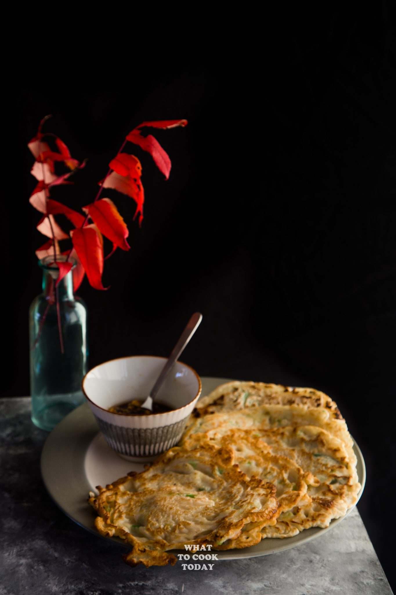 Leftover Turkey Scallion Pancakes and Soy Ginger Sauce #pancakes #leftoverturkey #recipes #asian