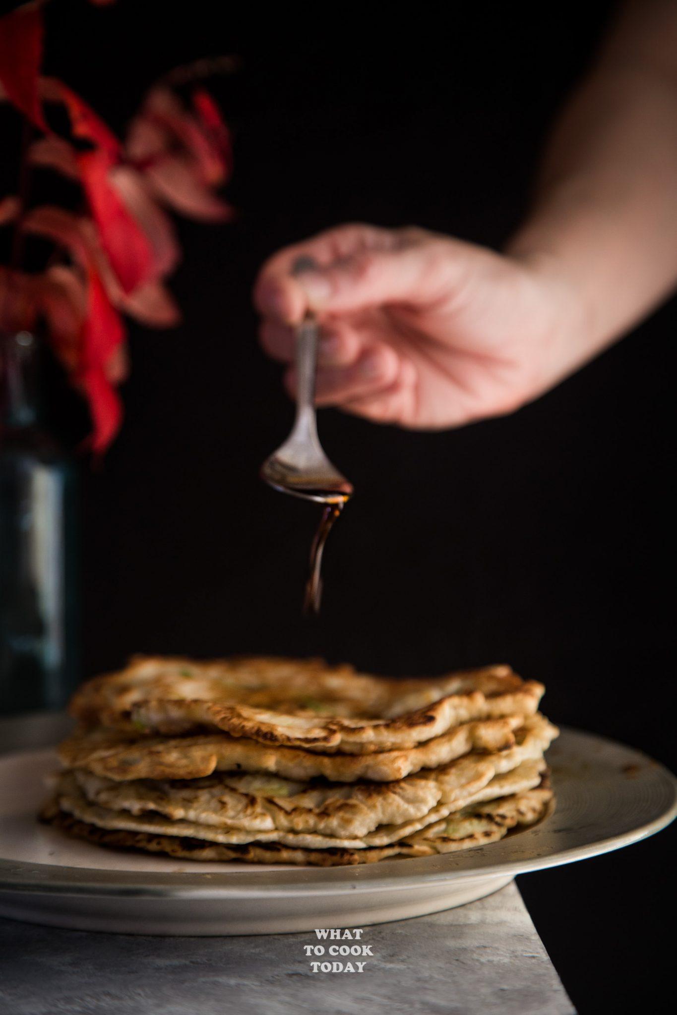 Leftover Turkey Scallion Pancakes and Soy Ginger Sauce#pancakes #leftoverturkey #recipes #asian