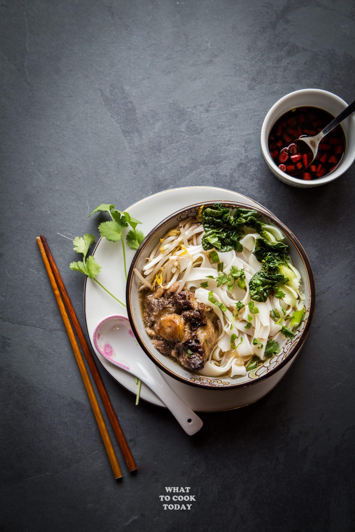 Instant Pot Oxtail Ho Fun Noodle Soup #instantpot #ricenoodles #noodlesoup #hofun #recipes