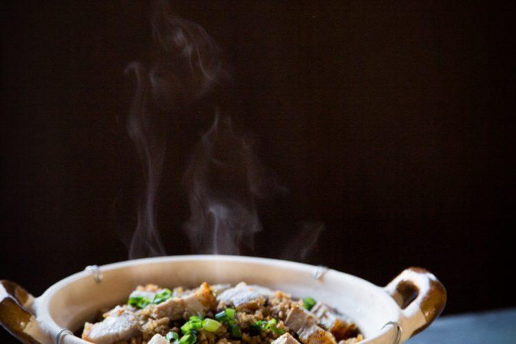 Crispy Roast Pork Black Garlic Rice