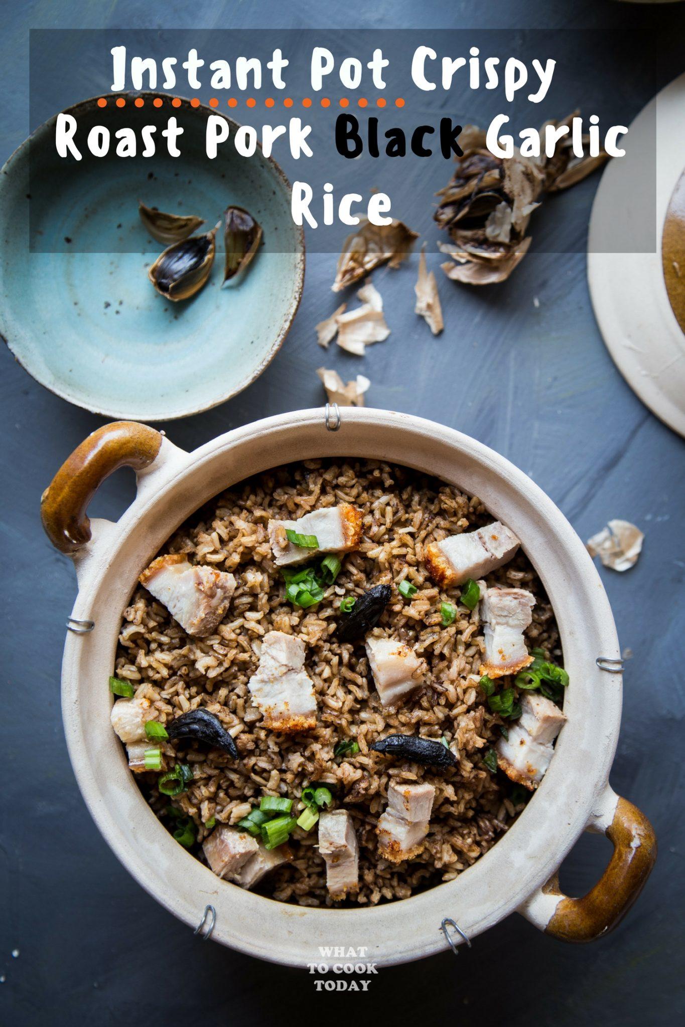 Crispy Roast Pork Black Garlic Rice #blackgarlic #porkbelly #rice