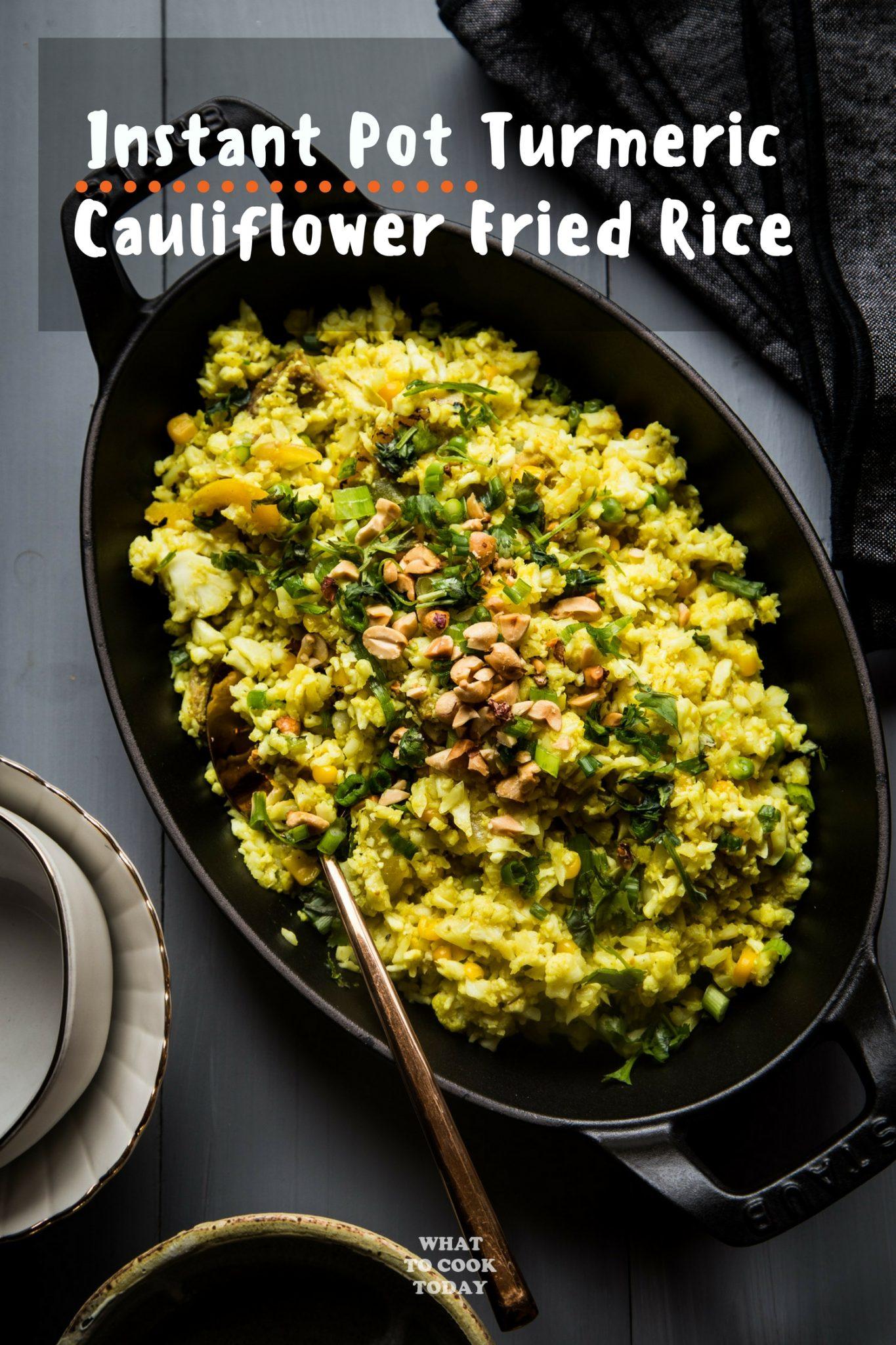Turmeric Cauliflower Fried Rice #instantpot #thanksgivingleftover #caulirice #cauliflower #easyrecipes #turmeric