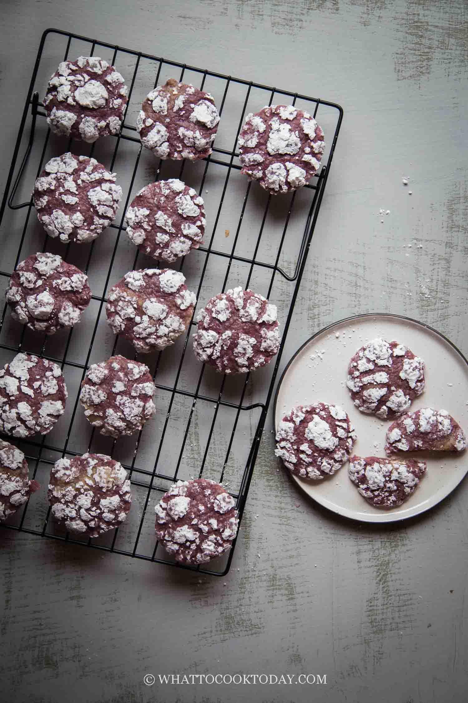 Amazingly Soft Ube Crinkle Cookies