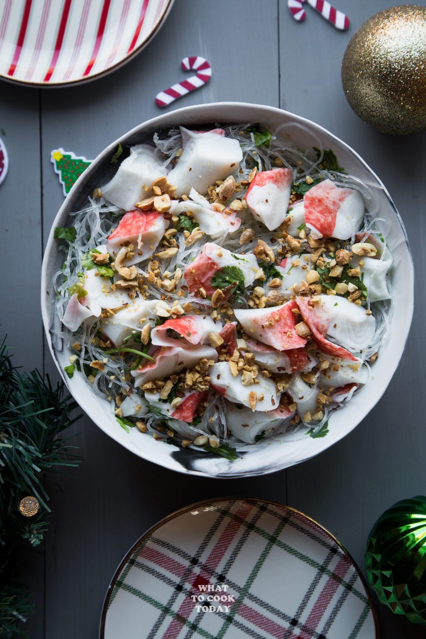 Surimi Cellophane Noodle Salad #ad #CrabDelightfulHoliday #surimi #noodlesalad #cellophane