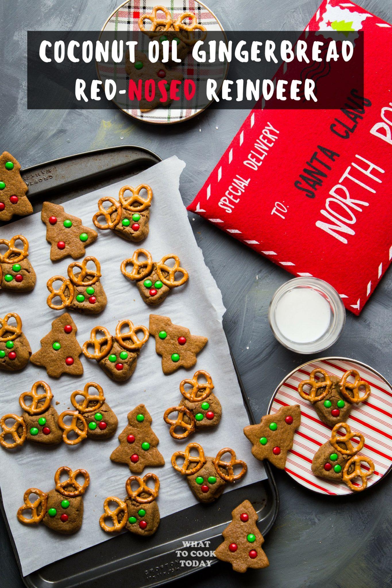 Coconut Oil Gingerbread Red-Nosed Reindeer #gingerbread #christmas #cookies #reindeer #cutefood