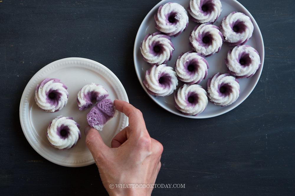 Kuih Puteri Ayu Ubi Ungu / Putu Ayu (Purple Sweet Potato Puteri Ayu)