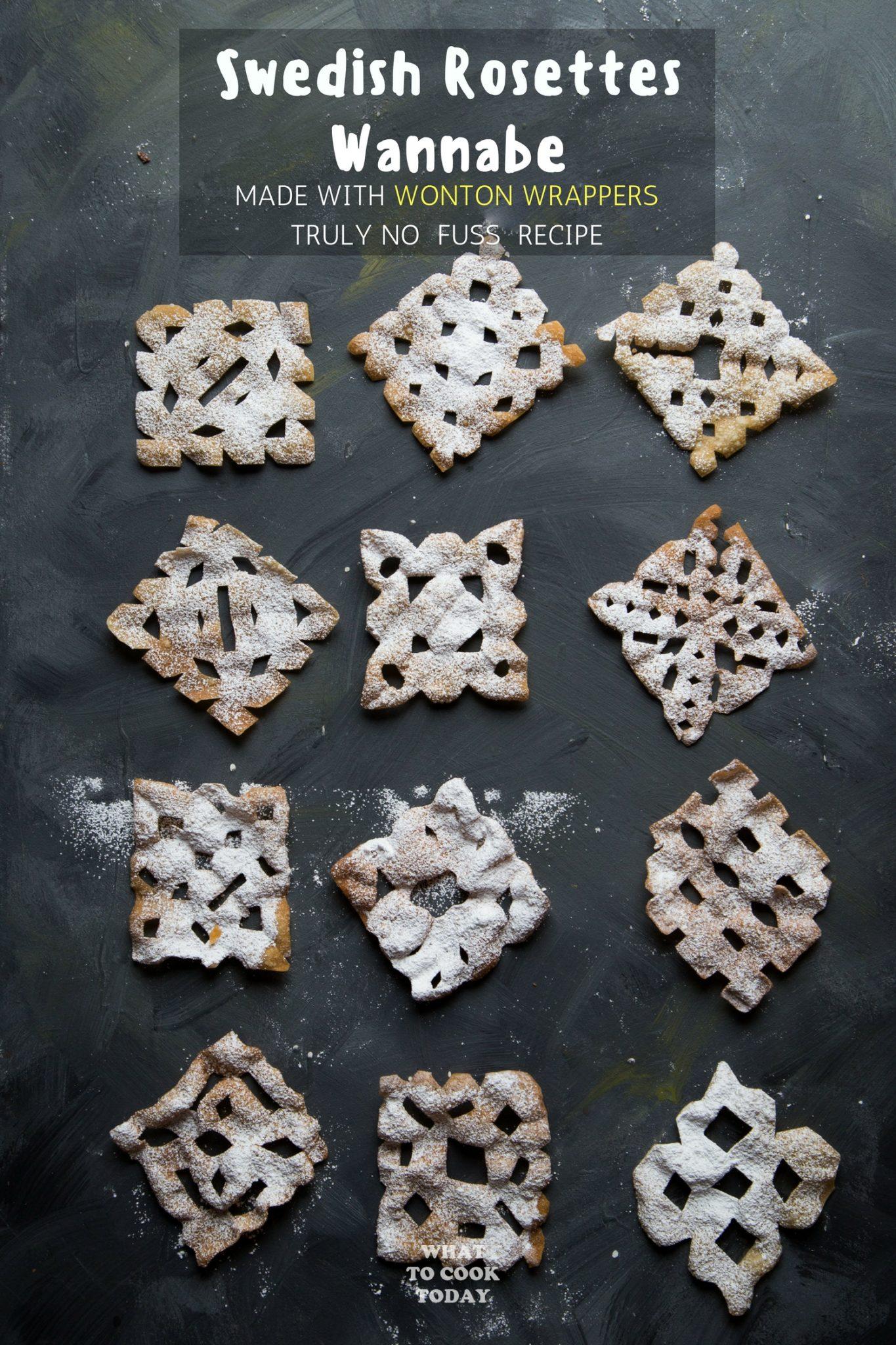 Swedish Rosettes Wannabe (made with wonton wrappers) #vegan #swedishrosettes #rosettes #christmas #easyrecipe