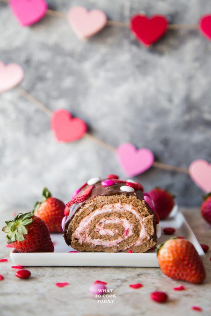 Strawberry Chocolate Swiss Roll