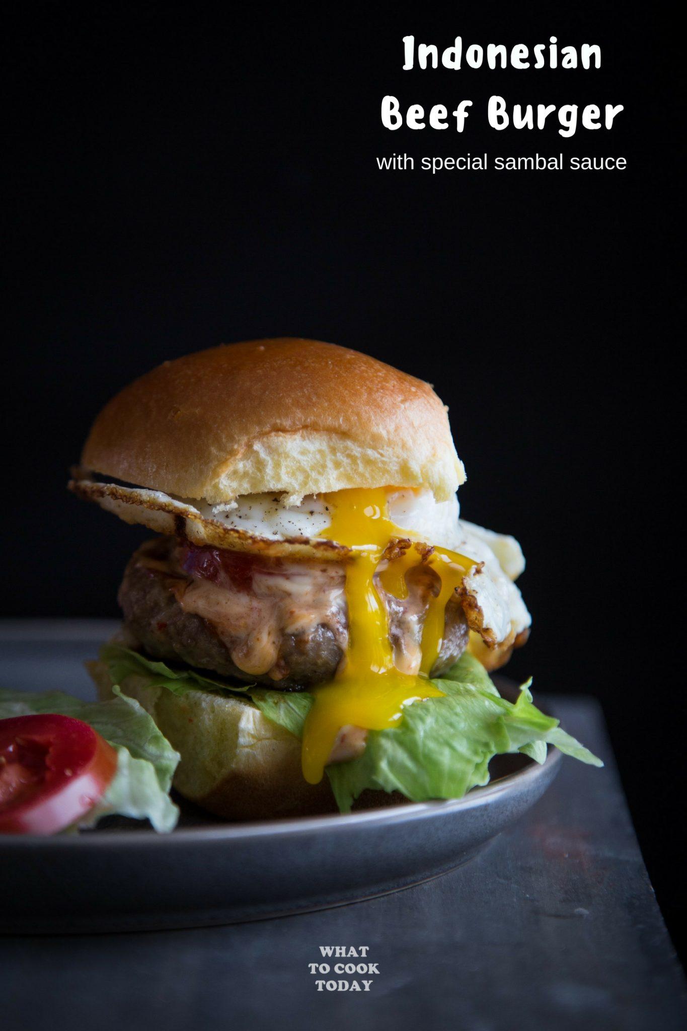 Burger Daging Sapi (Indonesian Beef Burger) #burger #beef #kewpiemayo #sambal