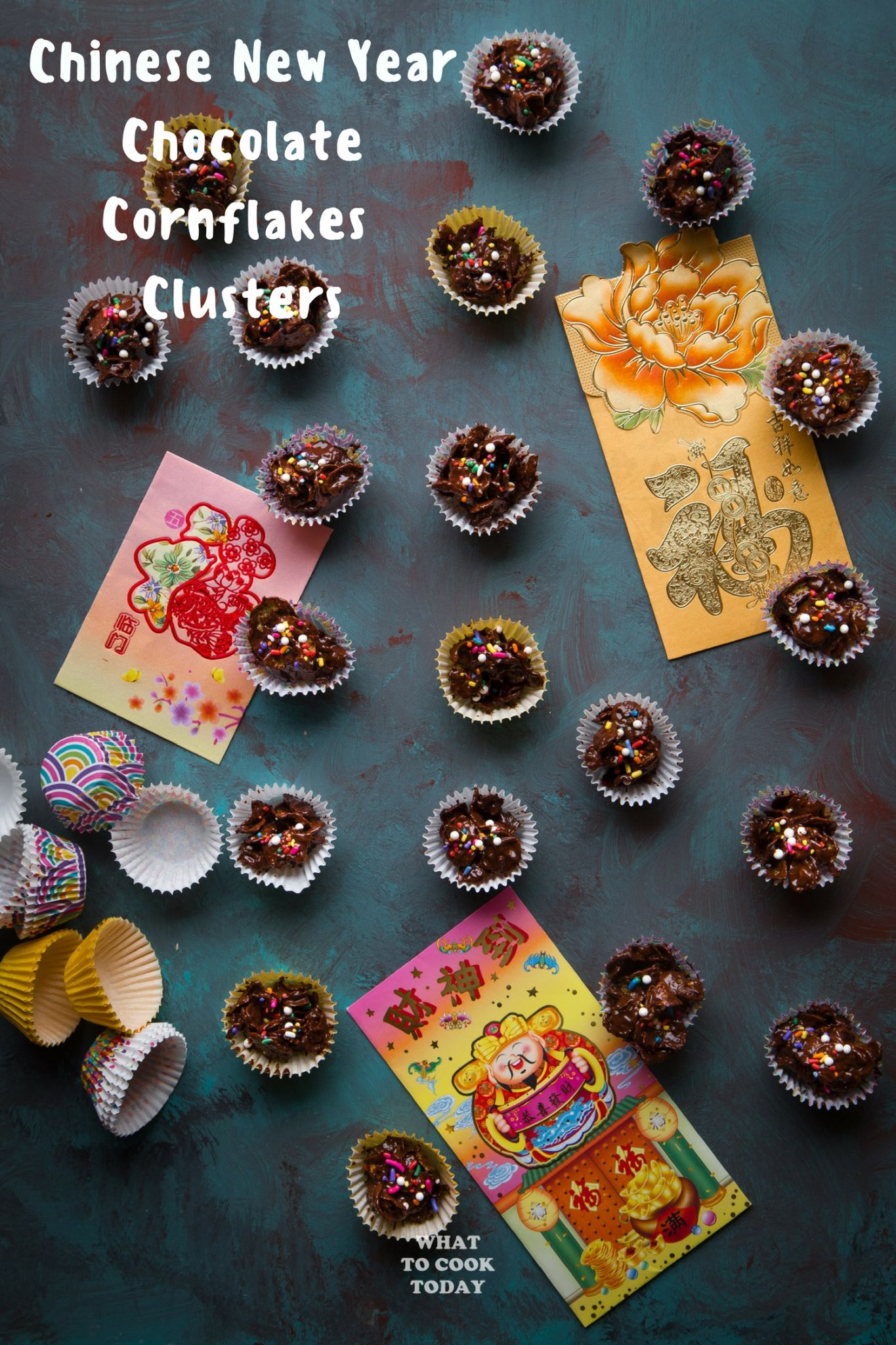 Chinese New Year Chocolate Cornflakes Clusters (No Bake) #CNY #sweets #cereal #chocolate