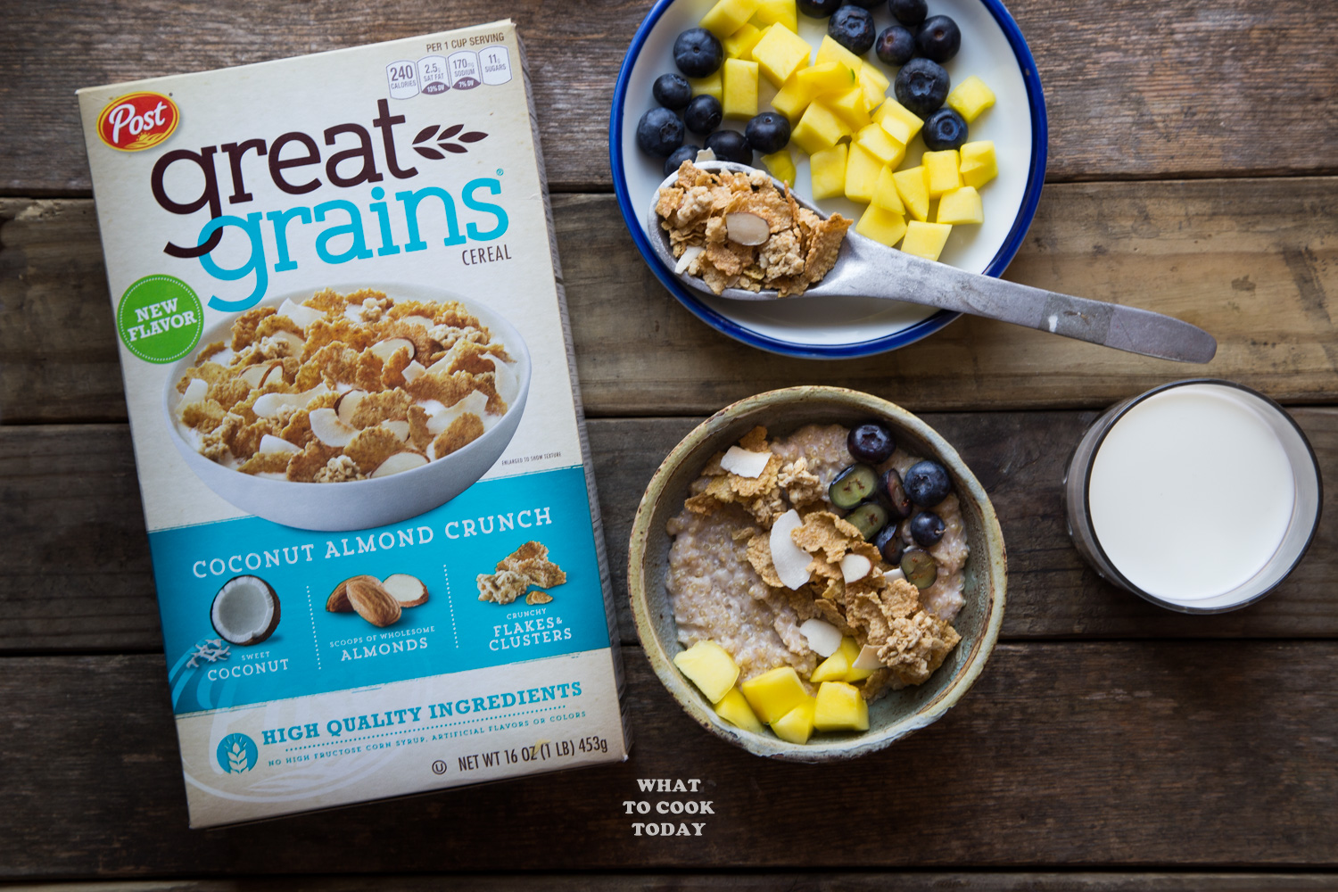 Quinoa Oats Porridge with Coconut Almond Crunch #ad #CelebrateGoodness #GreatGrainsGreatYear #quinoa