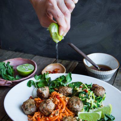 Pork Meatballs Veggie Spirals Salad