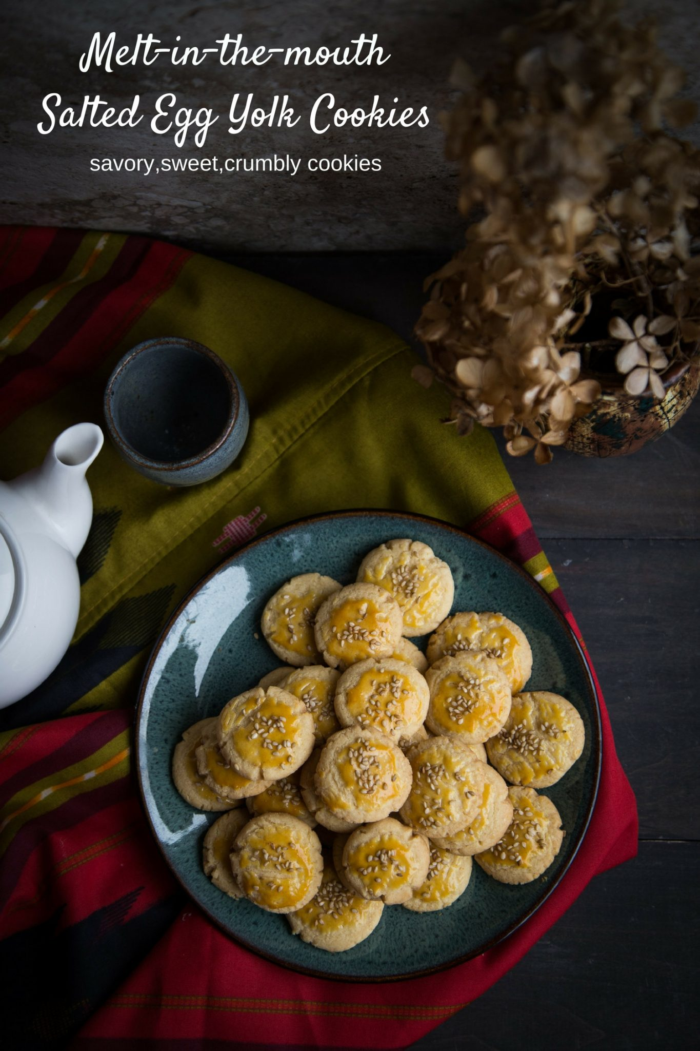 Salted Egg Yolk Cookies - Soft buttery cookies are infused with the salty umami salted egg yolks to give you sweet, salty, and crumbly cookies. One of the popular cookies for Chinese New Year celebration #CNY #cookies #saltedeggyolk