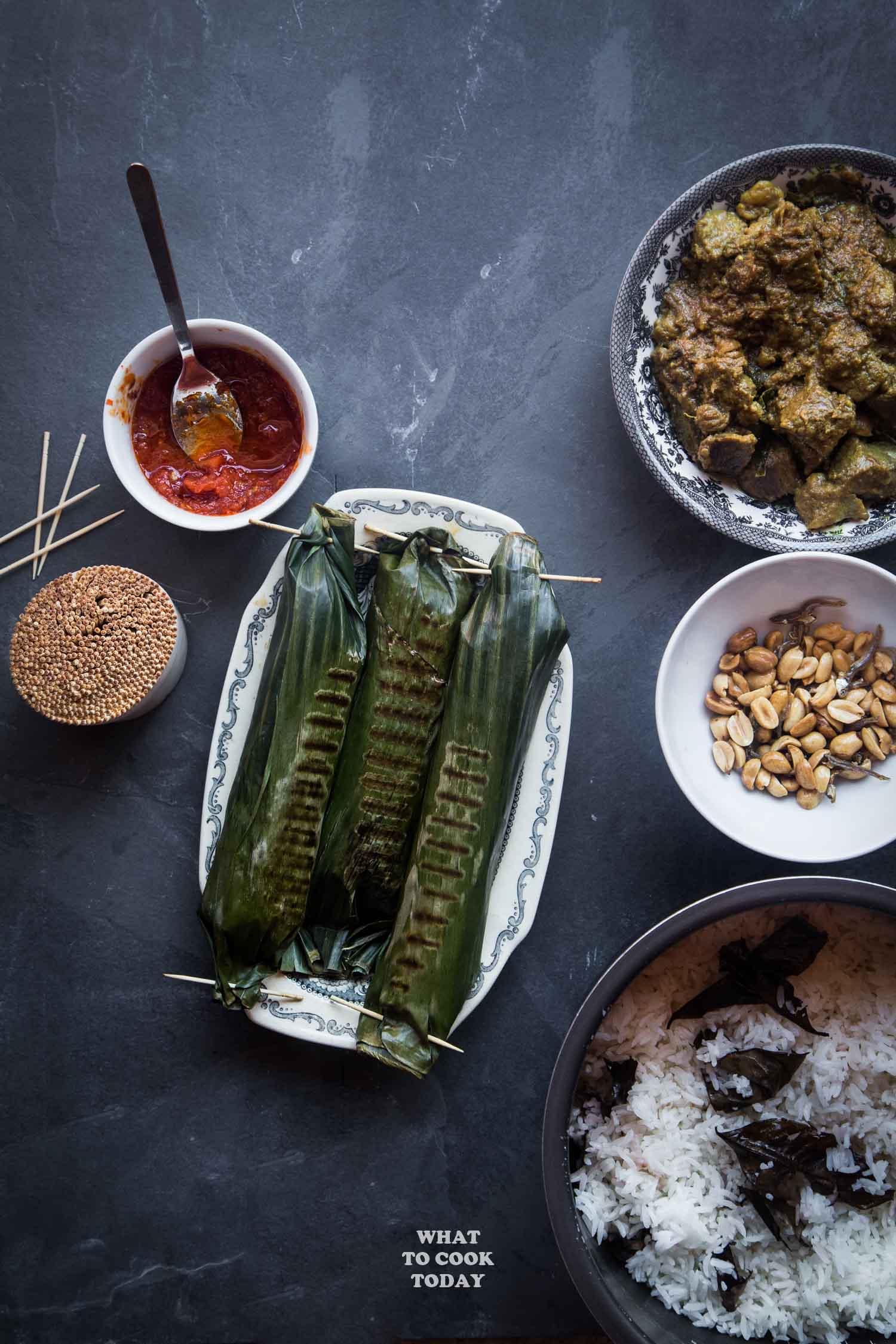 Nasi Bakar Bumbu Rendang (Indonesian Rendang Grilled Rice)