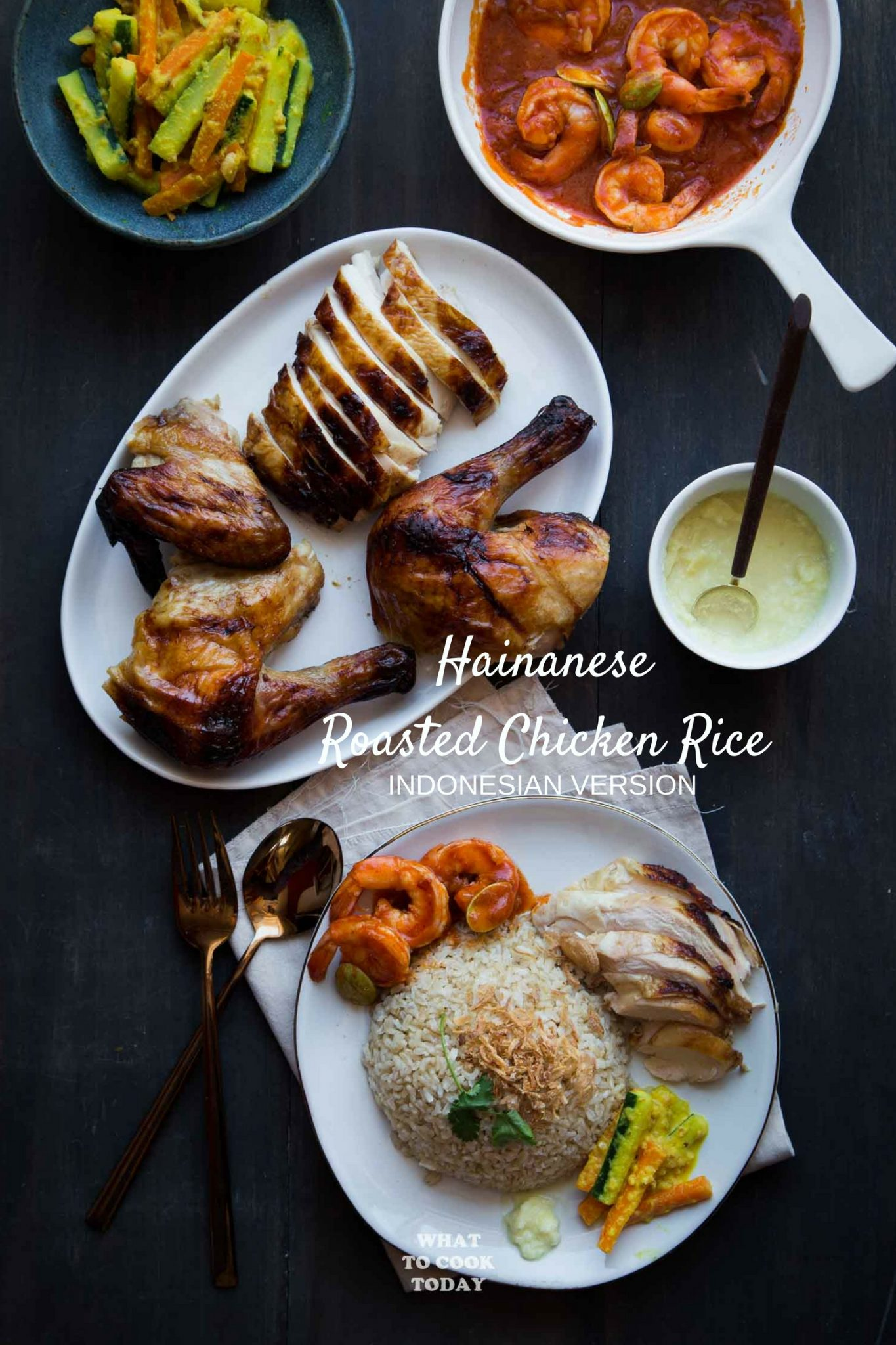 Nasi Hainam Medan / Medan-style Hainanese Chicken Rice. Roasted chicken is served with aromatic rice and other signature Indonesian-Chinese side dishes and entrees that make it uniquely Medan-style Hainanese Roasted Chicken Rice #chickenrice #hainanese #medanfood