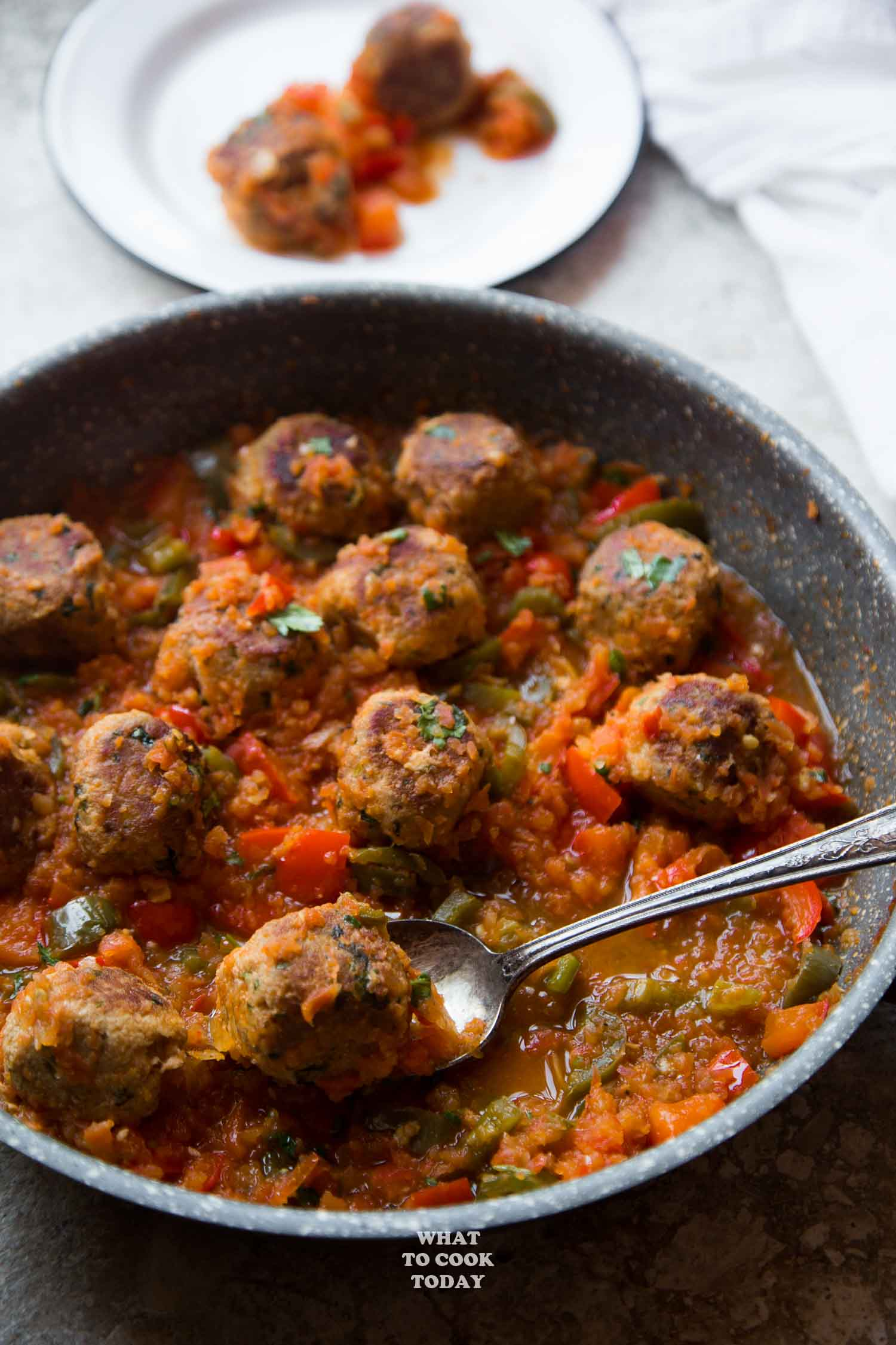 One-pan Tuna Meatballs in Green Chile Tomato Sauce
