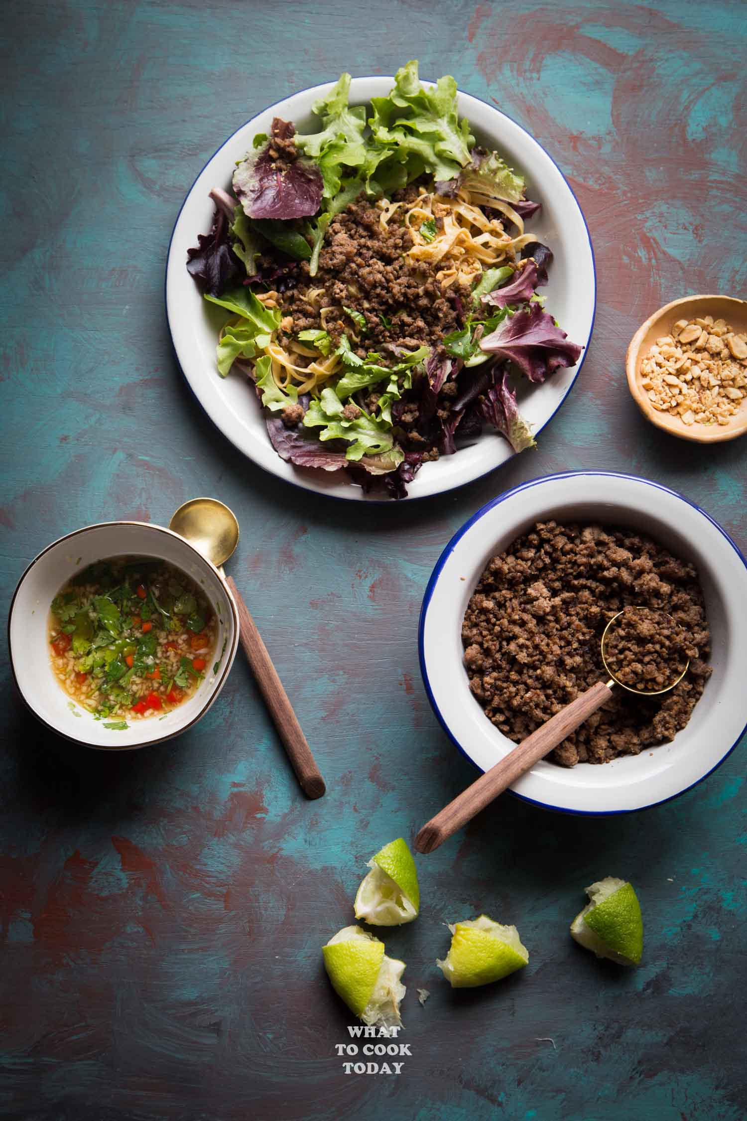 Asian Crispy Ground Beef Noodle Salad
