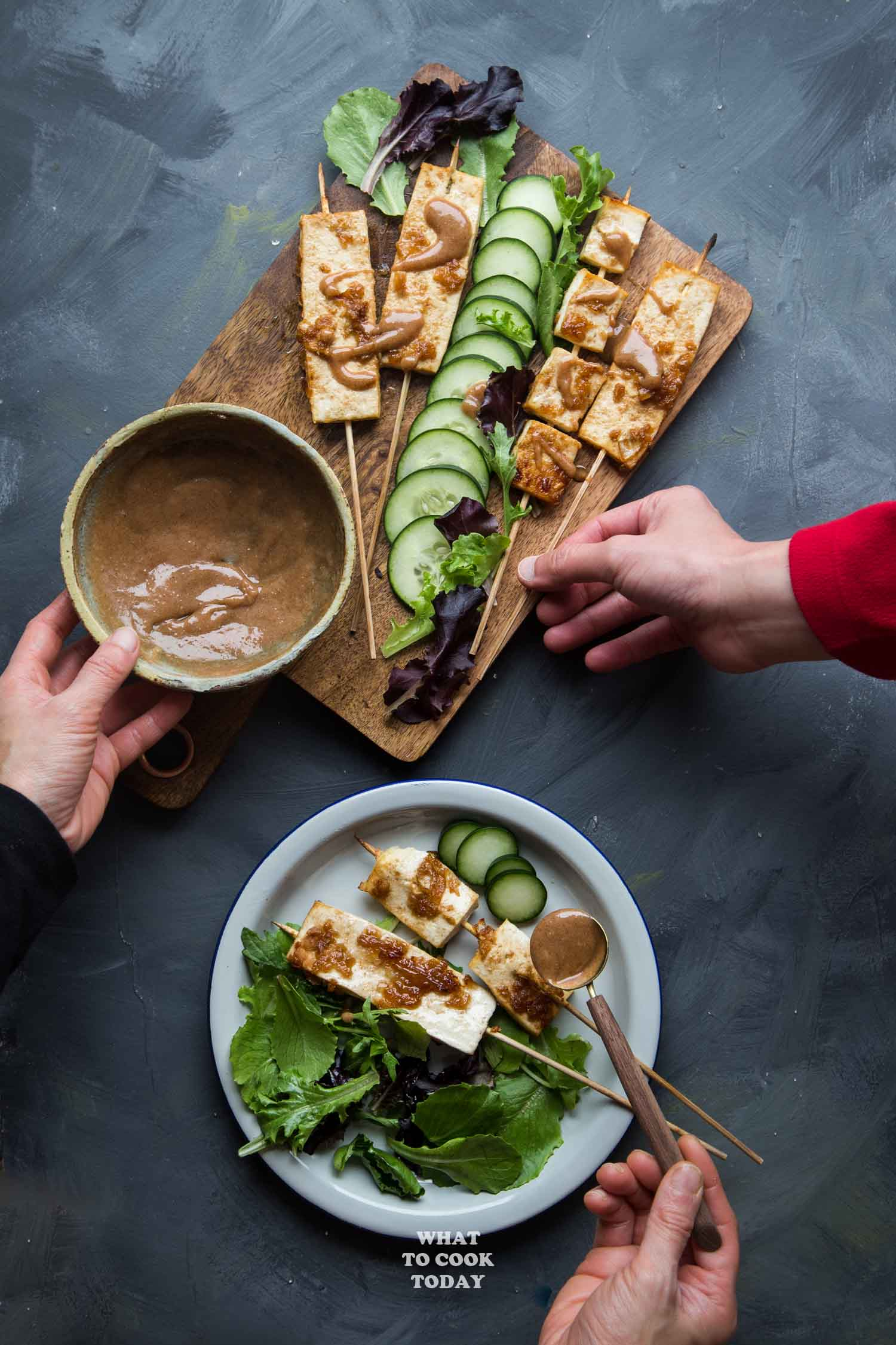 Tofu Satay with Almond Butter Sauce - Tofu is marinated in aromatic spices and serve with super easy, tasty, and creamy almond butter sauce. You will not think of tofu the same way again #ad #StartAHealthyRelationship